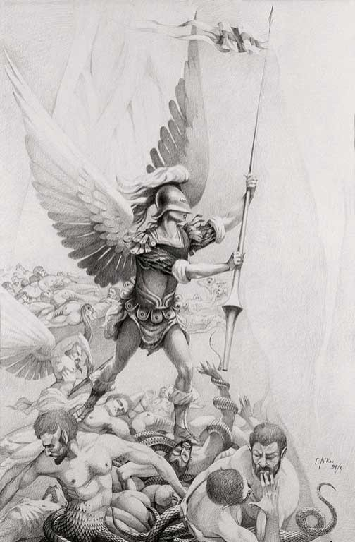 Grey-ink angel warrior with a spear standing on sinners pile tattoo design