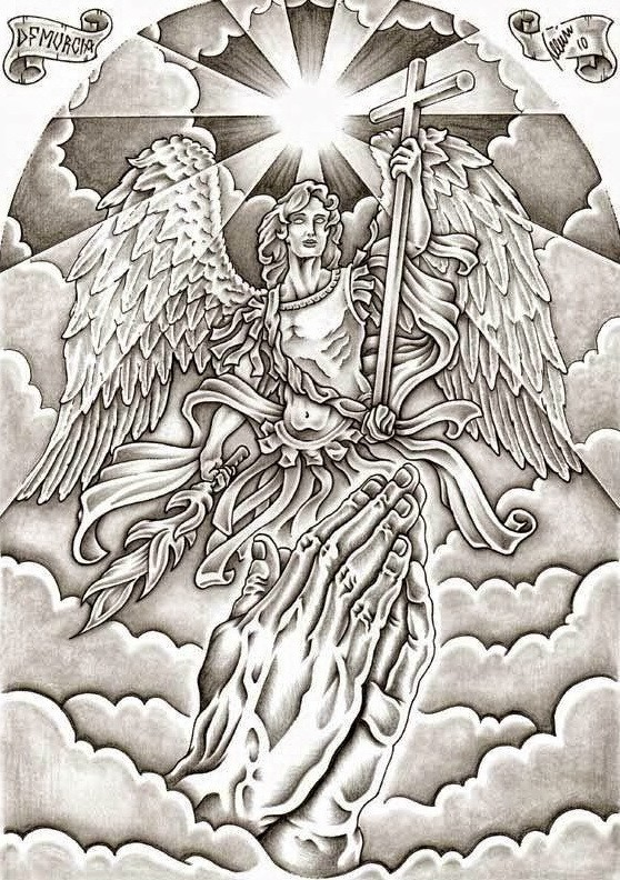 Grey-ink armoured romanian angel with a cross and praying hands tattoo design