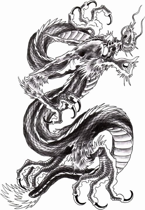 Grey-ink asian dragon crying from pain tattoo design