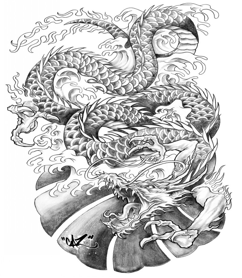 Grey-ink asian dragon on heavy waves background tattoo design