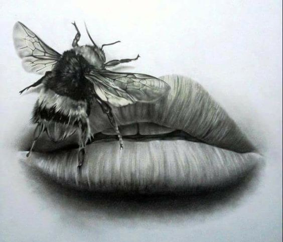 Grey-ink bee crawling on womans lips tattoo design