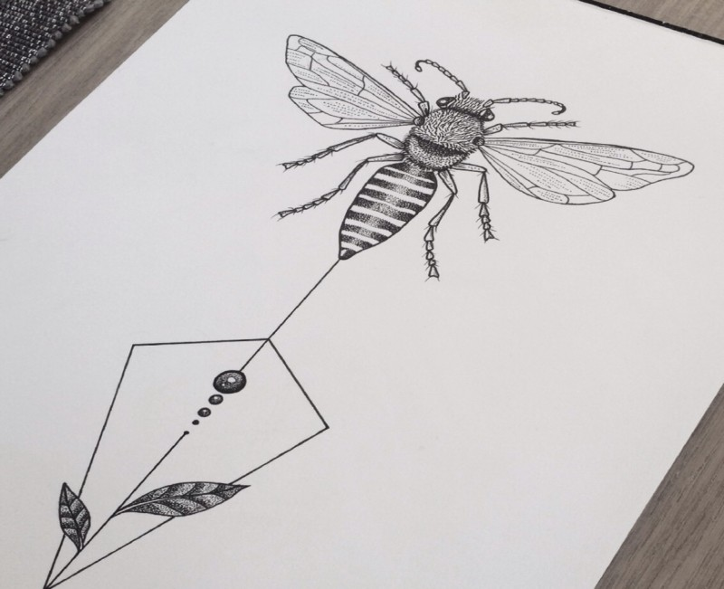 Grey-ink bee with dotwork and geometric elements tattoo design