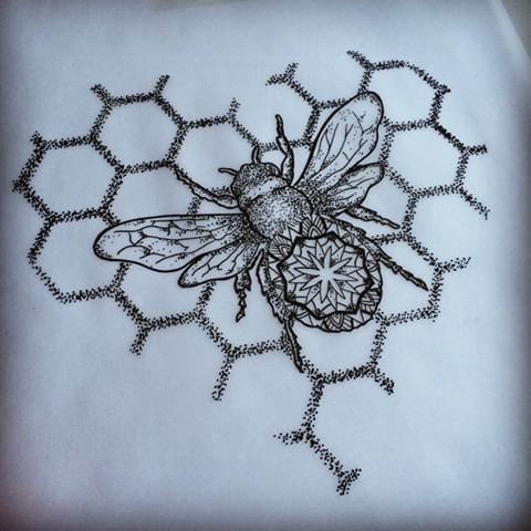 Grey-ink bee with mandala print crawling on honeycomb heart tattoo design