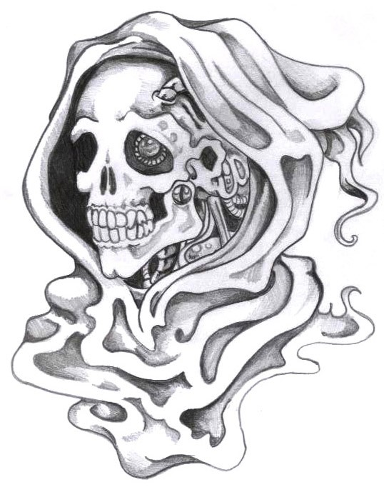 Grey-ink biomechanical death portrait tattoo design