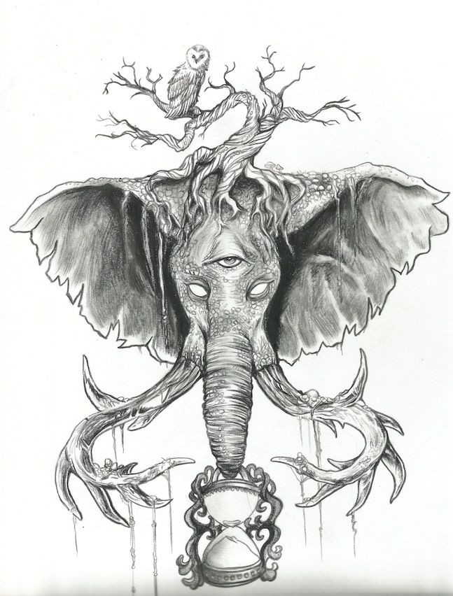 Grey-ink blind mammoth head with tree branches and hourglass tattoo design