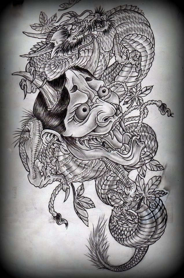 Grey-ink chinese demon and dragon tattoo design