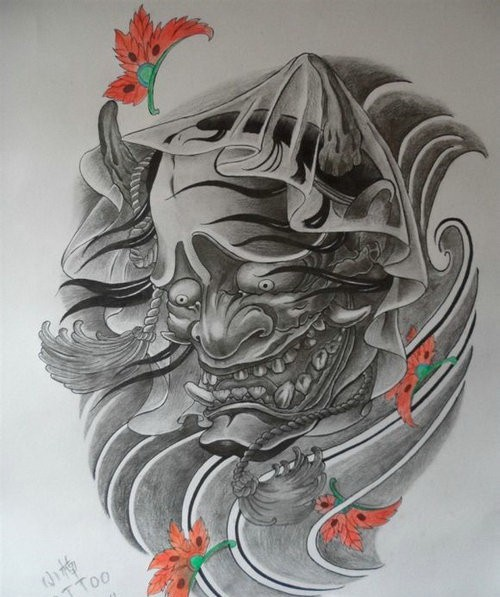 Grey-ink chinese devil face and orange falling leaves tattoo design