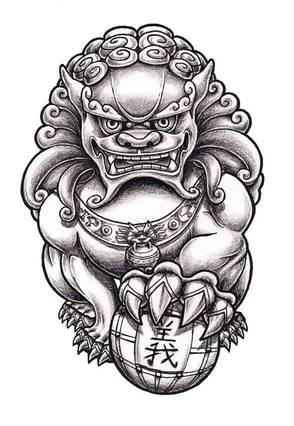 Grey Ink Chinese Foo Dog Statue With Ball Tattoo Design