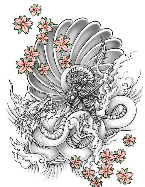 Grey-ink chinese warrior fighting with a dragon and pink falling cherry blossom tattoo design