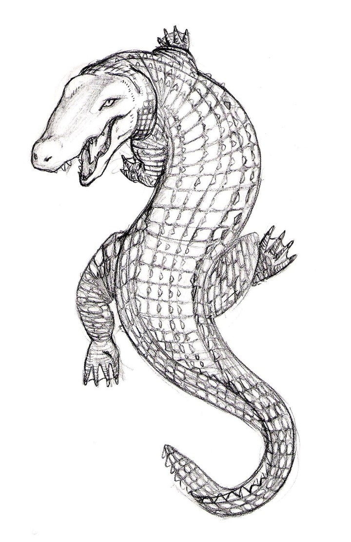 Grey-ink climbing reptile tattoo design by Jim Cacciabando