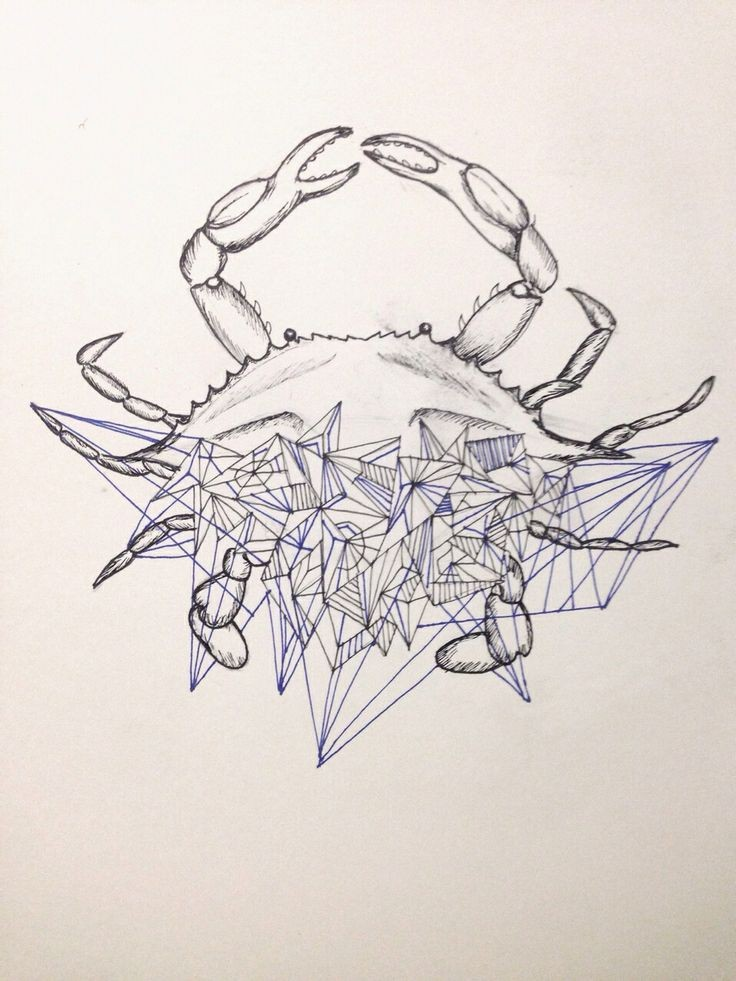 Grey-ink crab with difficult geometric drawings tattoo design