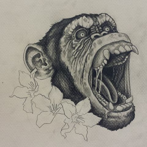 Grey-ink crying chimpanzee head and outline lilies tattoo design