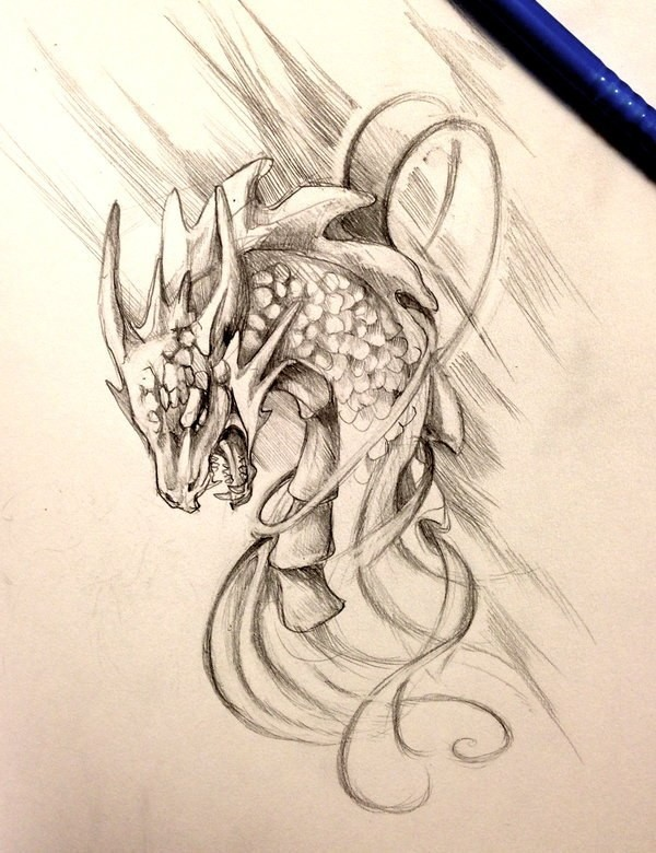 Grey-ink crying dragon head in swirls tattoo design