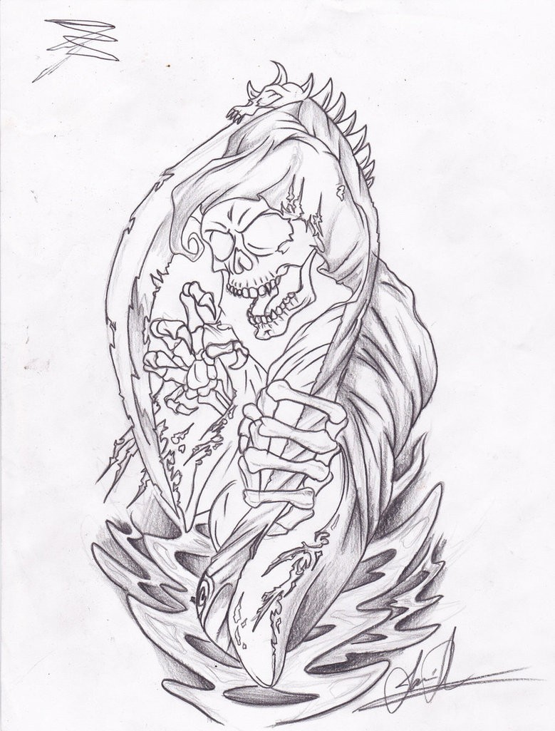 Grey-ink death and a sythe blade tattoo design by Jamieshemayme