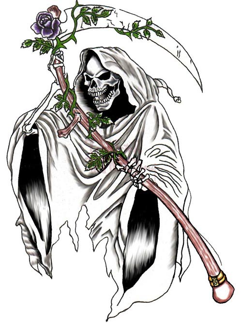 Grey-ink death keeping a scythe decorated with colored vine branch tattoo design