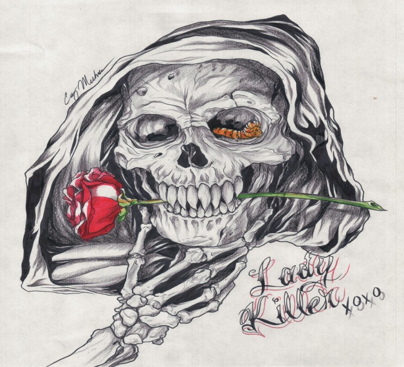 Grey-ink death skull with colored rose stem in teeth tattoo design by Narcissus Tattoos