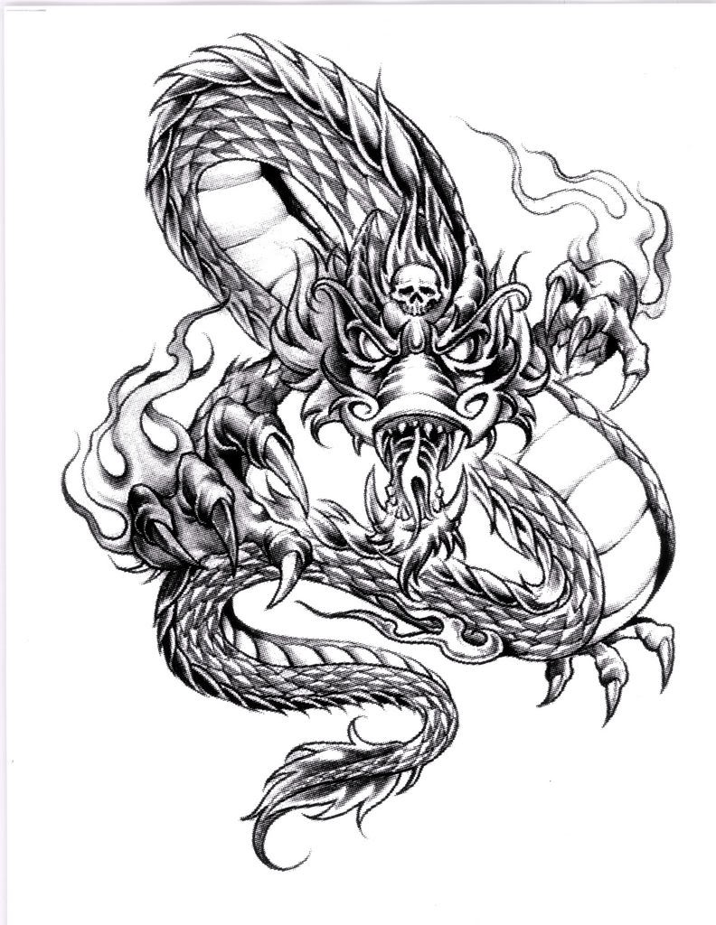 Grey-ink demon dragon with tiny skull on forehead tattoo design