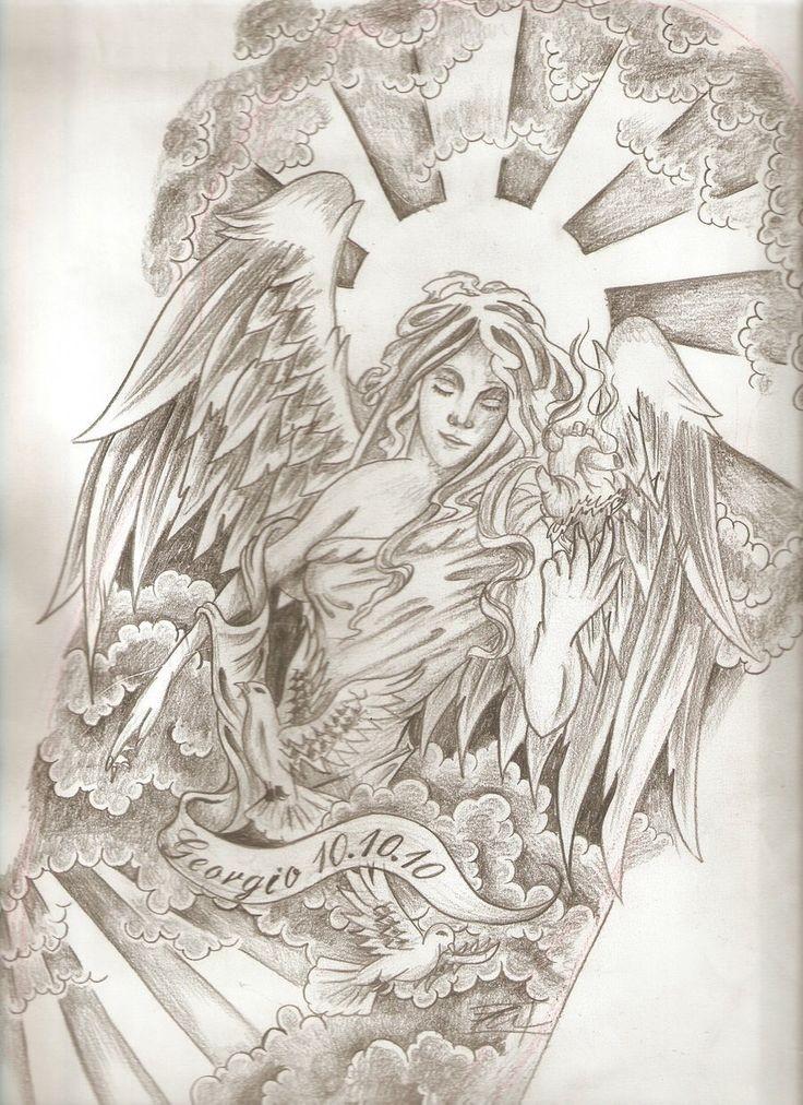 Grey-ink detailed memorial angel in sun shine tattoo design