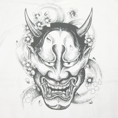 Grey-ink devil face with cherry blossom vortex tattoo design