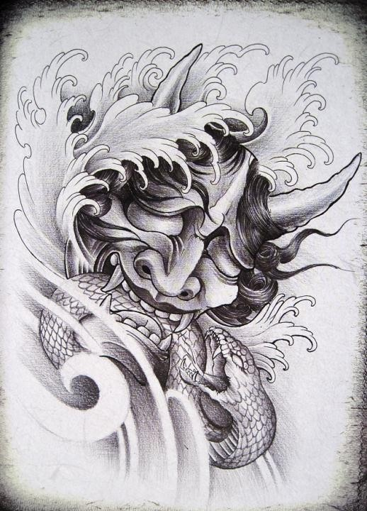 Grey-ink devil head killing a snake tattoo design
