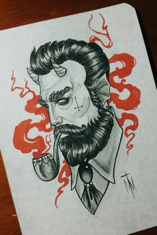 Grey-ink devil smoking a pipe with red smoke tattoo design