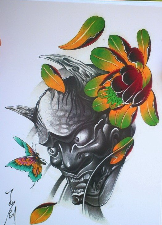 Grey-ink devil with vivid color lotus and flying butterfly tattoo design