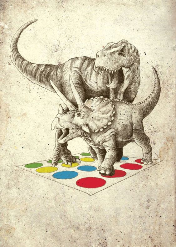 Grey-ink dinosaur couple playing colorful game tattoo design