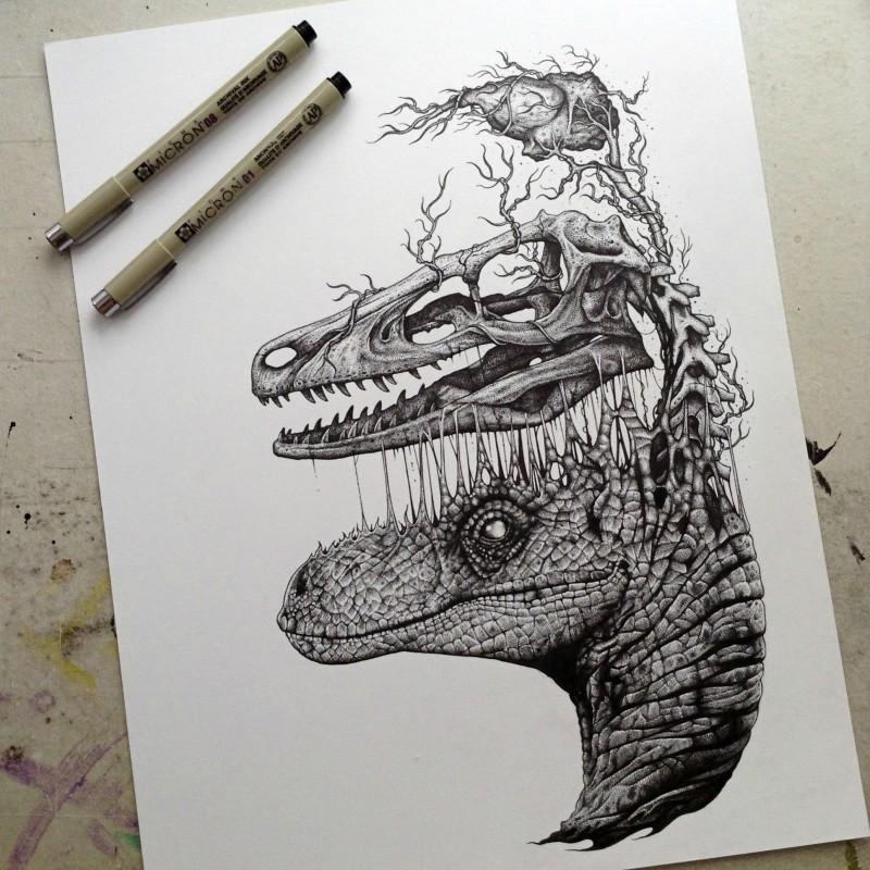 Grey-ink dinosaur head devided into skull and brain tattoo