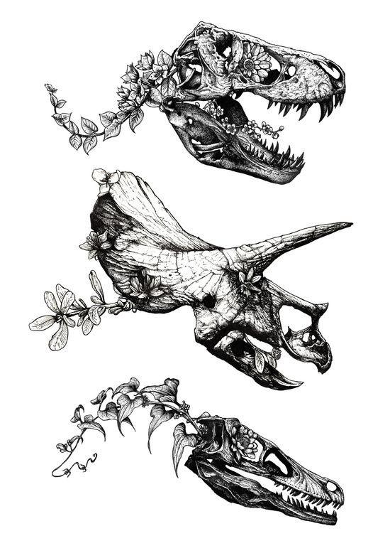 Grey-ink dinosaur skulls with floral spines tattoo design