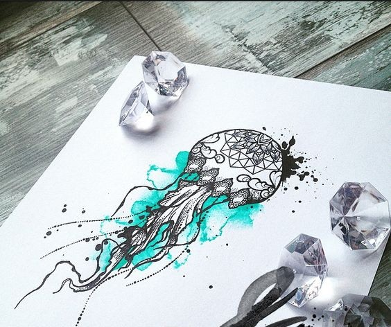 Grey-ink dotwork mandala-decorated jellyfish on turquoise watercolor background tattoo design