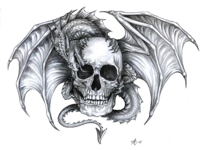 Grey-ink dragon sitting on human skull tattoo design
