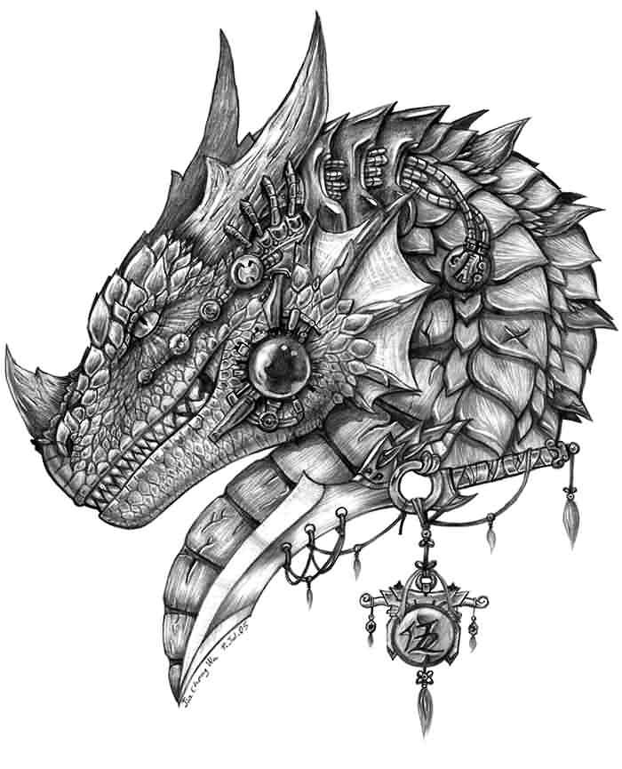Grey-ink dragon warrior head in armour decorations tattoo design