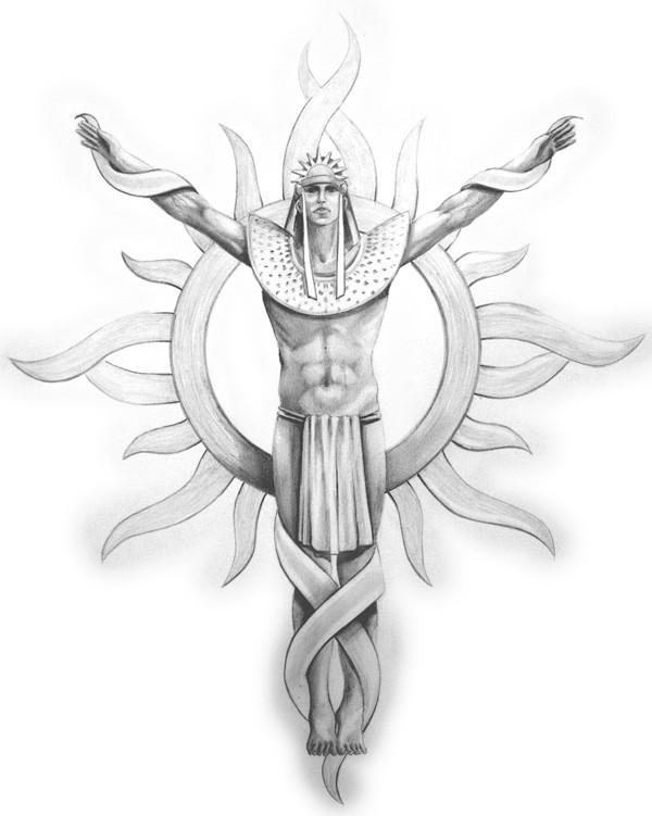 Grey-ink egyptian male angel on sun background tattoo design