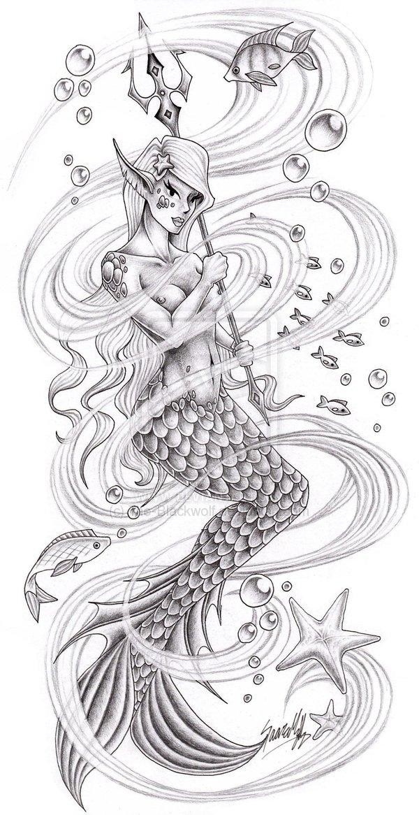 Grey-ink elf-mermaid warrior with long trident tattoo design