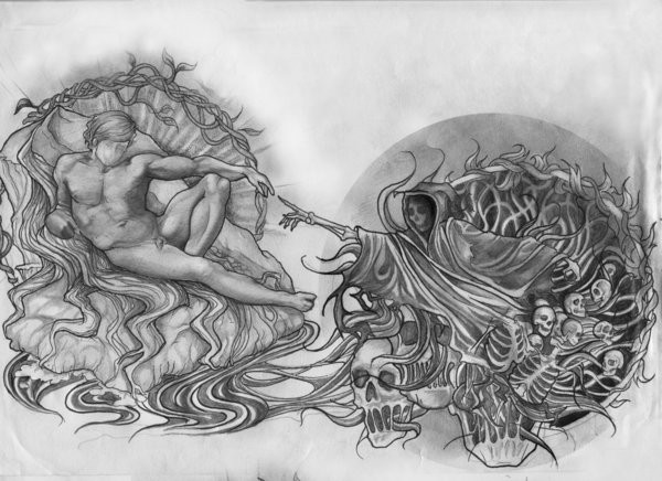 Grey-ink faceless death touching a naked man tattoo design by Tear Drop Titan