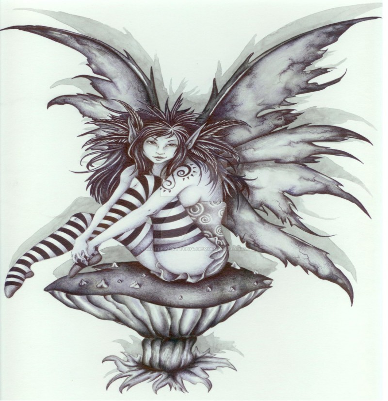 Grey-ink fairy in striped stockings sitting on a mushroom tattoo design by White 2 Tattoo 4