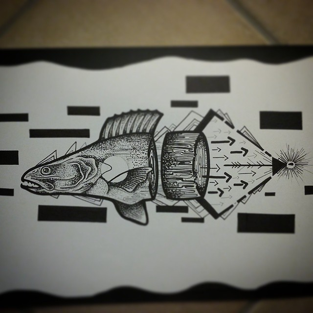 Grey-ink fish cut into pieces with arrow elements tattoo design