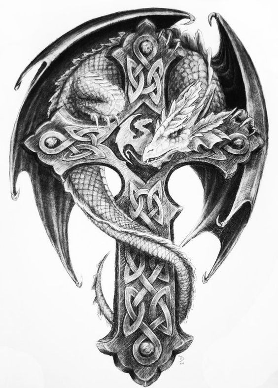 Grey-ink flexible entwining around the cross dragon tattoo design