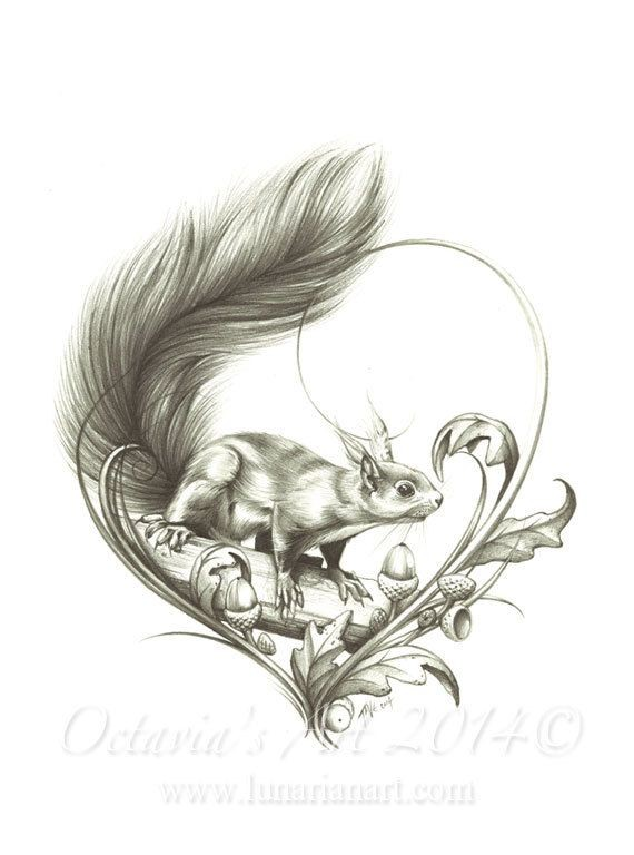 Grey-ink fluffy-tailed squirrel on thich branch with oak leaves and acorns tattoo design