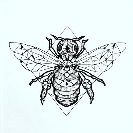Grey-ink geometric-winged bee on rhombus background tattoo design