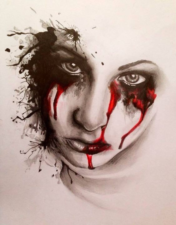 Grey-ink girly vampire face in bloody smudges tattoo design