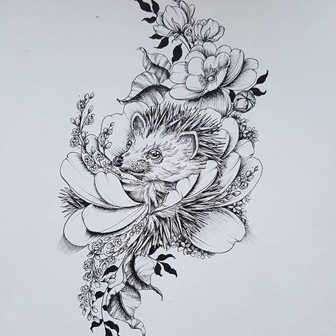 Grey-ink hedgehog head in flower bud tattoo design