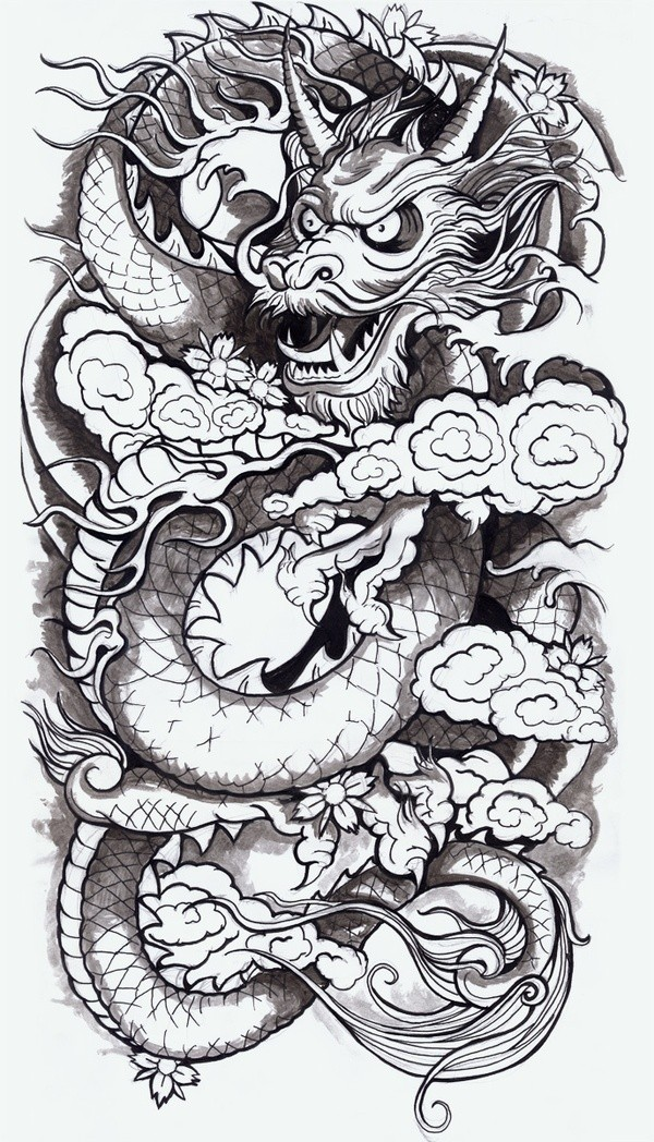 Grey-ink horned dragon devil in smoke with cherry blossom tattoo design