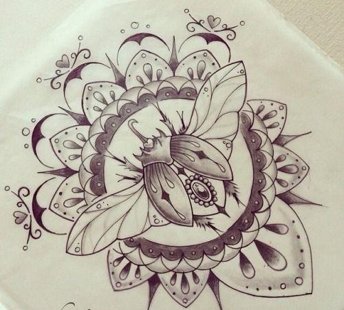 Grey-ink jewel bug in beautiful mandala frame tattoo design ...