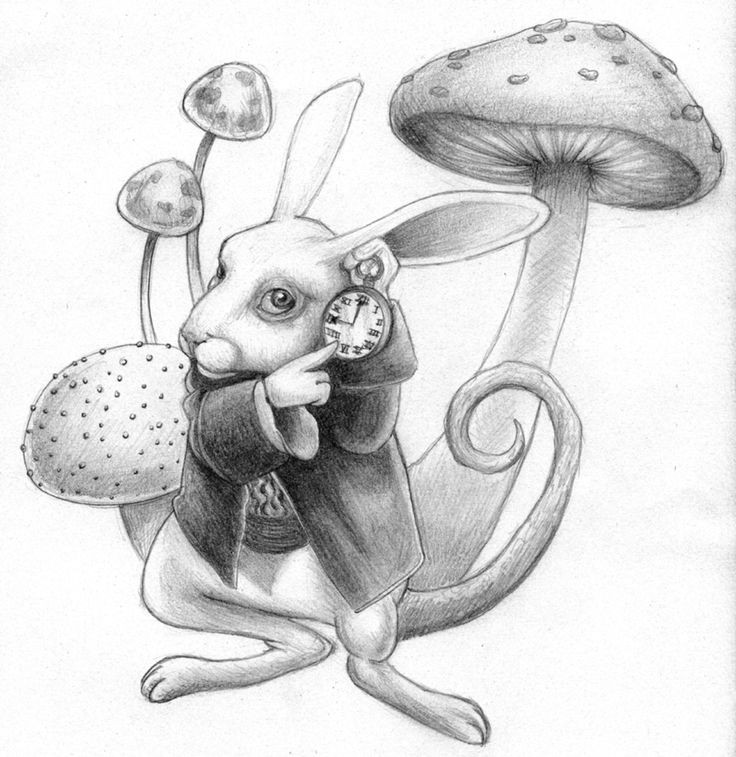 Grey-ink march hare surrounded with high mushrooms tattoo design