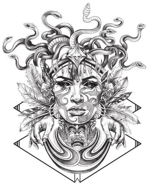 Grey-ink medusa gorgona with human hands and feather decorations tattoo design