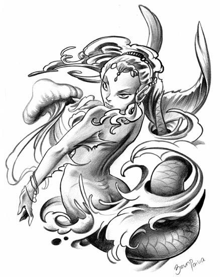Grey-ink mermaid dancing in stormy waves tattoo design