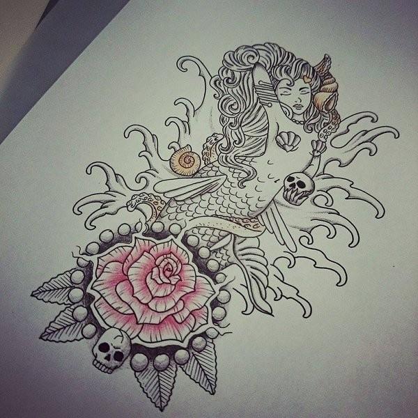 Grey Ink Mermaid Keeping A Tiny Skull And Huge Pink Rose Tattoo