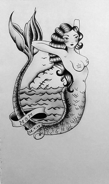 Grey-ink mermaid with memorial stripe in old school style tattoo design