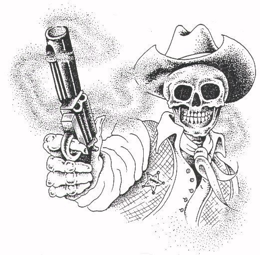 Grey-ink mexican death in a hat with a shooting gun tattoo design